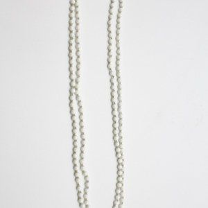 Les Bernard White Beaded Long Necklace